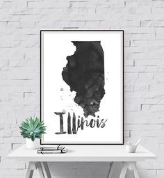 Illinois Printable State Wall Art IL Print by PetrichorAndInk