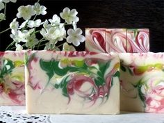 Strawberry Fields soap re-make to show the hanger swirl technique. This soap will be available on the Eve's Garden Handmade Soaps website March 2014 while. Soap Making Recipes, Soap Recipes, Soap Tutorial, Lavender Soap, Bath Soap, Organic Soap, Soap Packaging, Milk Soap, Soap Molds