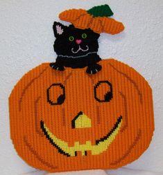 1761 Cat in a Pumpkin Door Decoration