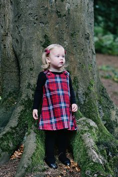 f5c2776353d8 Little girl Brave a-line pinafore red tartan dress. Buttons fastens on the  shoulder. Boepsie dress ages 12 months to 5 years