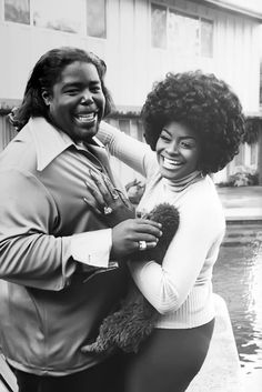 Barry White and his wife at home in Los Angeles, 1974