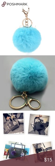 Gold plated Fur Ball Blue Keychain Luxury Keychain * Gold Plated keychain and attachment ring * beautiful gazing Blue Fur Ball Keychain! Super Cute and Trending!! Get the look now -- Perfect to accesorize your Handbag, backpack, gym bag, lunch bag, purse, makeup bag, etc!  Also can be used as a cellphone accessory -- Accessories