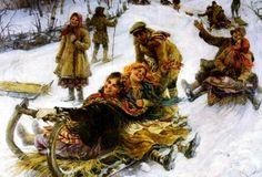 Для катания  использовали : ледянки – обмазанные навозом и покрытые льдом решета; обледеневшие шкуры домашних животных и рогожи; лубье – липовая кора, катанки или буки – старые подмороженные корзины; лотки – распиленные пополам чурки с уплощенным подмороженным основанием и выдолбленным сверху углублением; козлы, скачки, подки, корежки– долбленые из дерева ладьи с сидением в середине; катульки – заостренные впереди и выдолбленные сверху доски; скамейки, салазки и прочее.