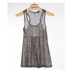 BKE Boutique Snake Print Tank Top ($28) ❤ liked on Polyvore featuring tops, grey gold, racerback tank, grey racerback tank, racer back tops, chiffon tank and grey tank