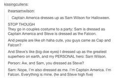 Steve Rogers/Captain America, Sam Wilson/the Falcon, superheroes avengers captain America the winter soldier CAtWS headcanons tumblr
