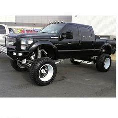 Black Lifted Ford Powerstroke Custom Lifted Trucks, Lifted Chevy Trucks, Gmc Trucks, Diesel Trucks, Cool Trucks, Pickup Trucks, Offroad, Ford Powerstroke, Monster Trucks