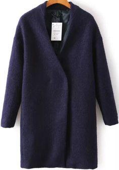 manteau en laine V col manche longue -marine  36.83