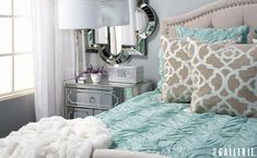 Soft and elegant bedroom. Would die of happiness every time I walked in if this was my bedroom.