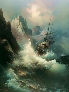 "The Ocean wins (again). ""On the Rocks"" - Eugene Garin - Old Sailing Ships, Ship Paintings, Stormy Sea, Nautical Art, Ship Art, Tall Ships, Fantasy Art, Art Photography, Scenery"