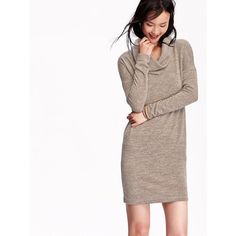 Old Navy Cowl Neck Sweater Dress featuring polyvore, fashion, clothing, dresses, brown, petite, sweater dress, pink long sleeve dress, knit sweater dress, old navy and petite dresses