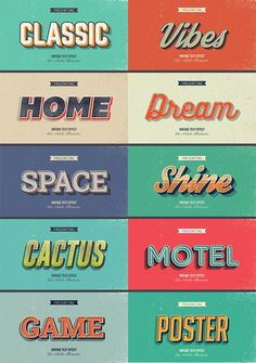 33 Premium Retro and Vintage Text Graphic Style for Illustrator This pack carries 10 various vintage and retro text styles that can be used for any graphic, web, and app designs. Kids Graphic Design, Church Graphic Design, Vintage Graphic Design, Graphic Design Posters, Retro Design, Graphic Design Inspiration, Vintage Designs, Graphic Design Typography, Graphic Art