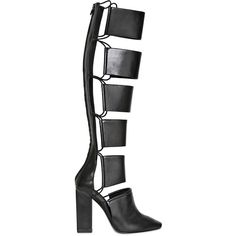 ALEXANDER WANG 110mm Marta Calfskin Elastic High Boots ($850) ❤ liked on Polyvore featuring shoes, boots, heels, alexander wang, black, high heel shoes, black heel boots, alexander wang boots, black high heel boots and black high heel shoes