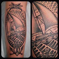 Schooner ship grandfather tribute tattoo. matt houston at gastown tattoo. traditional tattoo. schooner ship.