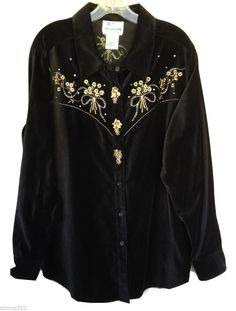 Quacker Factory Metallic Floral Embroidered Velvet Shirt Button Covers Women's L #QuackerFactory #Western #Casual