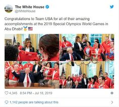 Special Olympians Celebrate With President Trump Special Olympics, Team Usa, Olympians, Donald Trump, Congratulations, Presidents, Celebrities, People, Posts