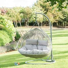 Siena Hanging chair includes a luxury cushion. Provides a smooth rocking action. Suspended basket is secured safely. The perfect place to relax - B&M. Rattan Egg Chair, Egg Swing Chair, Hanging Egg Chair, Swinging Chair, Swivel Chair, Wicker Swing, Luxury Cushions, Relax, Eames Chairs