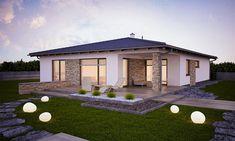 Dom dobro môžeme pokojne zaradiť medzi luxusné bungalovy Projekty, ktoré sa vyznačujú pohodlným užívaním, veľkými miestnosťami, poskytujú ten pravý komfort Home Building Design, Building A House, House Paint Exterior, Front Yard Landscaping, Modern House Design, Home Fashion, House Painting, My House, House Plans