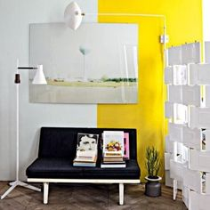 Color Trend Spotting: Two-Tone Walls. Vertical block of color