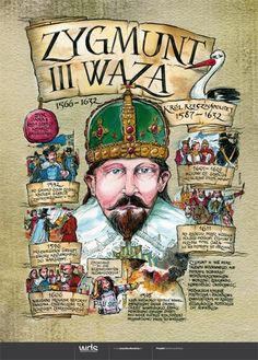 Zygmunt III Waza - Poczet królów polskich - PlanszeDydaktyczne.pl Learn Polish, Poland History, Polish Language, Visit Poland, E Mc2, Middle Ages, Education, Learning, Acupressure