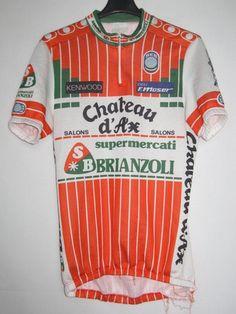 Maillot cycliste vintage Chateau d'Ax Supermercati Brianzoli année 1987 - L