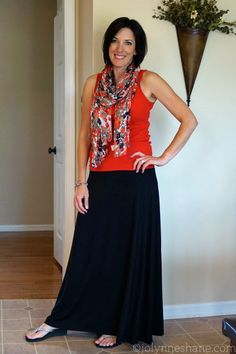 Maxi skirt with tank and summer scarf - #30daysofsummeroutfits #fashion #summer