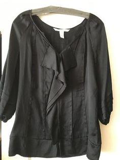 5779342ff11bcf Diane von Furstenberg Top Black V Neck Blouse, Diane Von Furstenberg, Black  Tops,. Tradesy