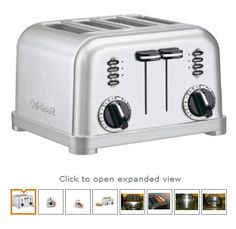 The Cuisinart CPT 180 Metal Classic 4 Slice Toaster has a smooth brushed stainless housing with polished chrome and black accents. With 1 12 inch wide toasting slots slide out crumb tray and convenient cord wrap toasting has never been easier. Four Slice Toaster, Stainless Steel Toaster, Brushed Stainless Steel, Stainless Kitchen, Brushed Metal, Small Appliances, Kitchen Appliances, Kitchen Gadgets, Toaster