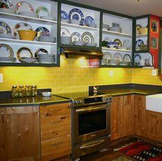 Residential Kitchen Backsplash in Lyric NOW 3 x 6 Subway Tile - Jonquil.