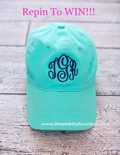 ***CONTEST TIME*** Repin This Post for the chance to be entered in our giveaway. 1 lucky person will win a monogrammed hat! Must be following The Pink Lily Boutique on Pinterest to win. www.thepinklilyboutique.com