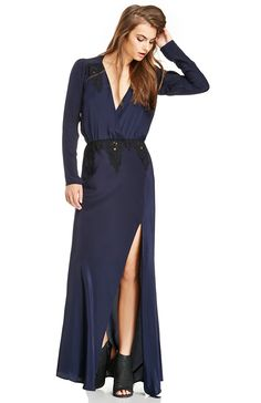 Elegance at its best. Silk Alabama Gown by Stone Cold Fox features a black lace contrast at the waist and shoulders, an open back, and sexy thigh-high slit. <b>Stylist Tip</b>: Add a leather stiletto and messy bun for a fairy tale evening.