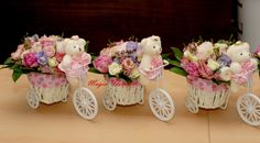 Bycicle bear centerpiece - baby girl