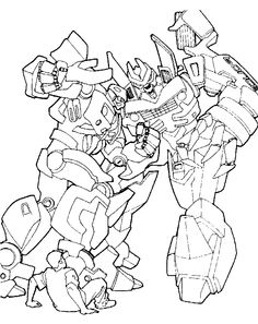 Transformers Are Fighting Coloring Page