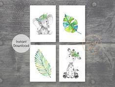 Set of 4 Grey Safari Animal Printable Prints - Jungle Nursery Wall Art Pictures - Printable Wall Art
