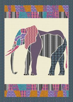 E is for Elephant. Customize this quilt top at patternjam.com and have it in as little as 7 days.