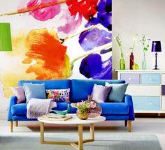 Salon avec papier peint floral ~ Décoration Salon / Décor de Salon