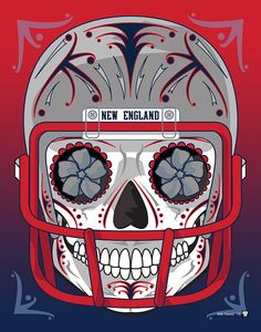 """New England Patriots"" Sugar Skull Day of the Dead Calavera Print Inspired by the professional football team"
