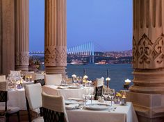 Istanbul, Turkey An Ottoman palace on the banks of the Bosphorus is the dazzling setting of Tugra Restaurant, located in the Ciragan Palace Kempinski hotel. Chef Hüseyin Ulaş offers classical dishes, created with the help of historical research on the cuisine served to sultans during the Ottoman Empire. Tables on the balcony enjoy beautiful water views, illuminated by the Bosphorus Bridge.