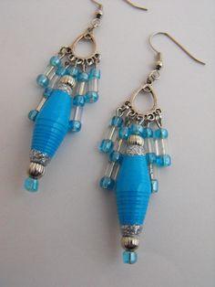 Paper Pearls Jewelry - Blue paper bead earrings $10.