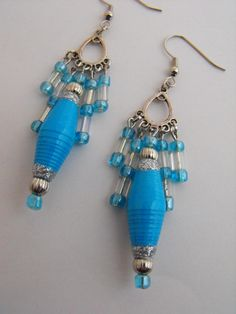 Paper Pearls Jewelry - Blue paper bead earrings $10.