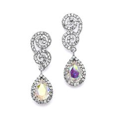Best Selling Crystal Scroll Wedding or Prom Earrings with AB Tea