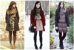 vestidos, cachecois, casacos