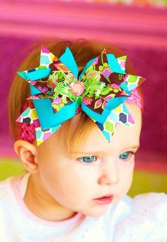 baby hair bowboutique ribbon hairbow by SallyAnnaSunshine on Etsy