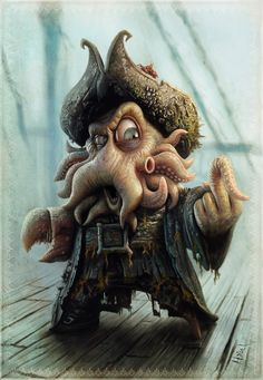 """davy cartoon"" (Davy Jones of Pirate of the Carribean 2) by Tiago Hoisel   TiagoHoisel on http://Shadowness.com/TiagoHoisel #davyjones #PotC #disney #fanart"