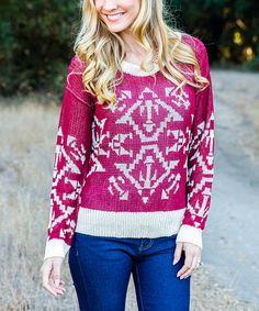 Another great find on #zulily! Burgundy Beige Geometric Scoop Neck Sweater #zulilyfinds