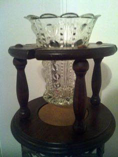 Beautiful #Vintage Crystal Vase with Wooden Stand by cappelloscreations, $30.00@Etsy