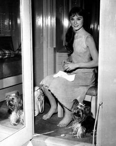 Audrey Hepburn with her dog Mr. Famous during the filming of Green Mansions, 1959.