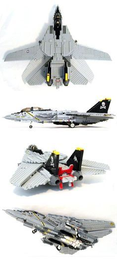 From MECHANIZED BRICK: Custom LEGO U.S. Navy F-14 Tomcat Fighter Plane Kit. 1,480 pieces for $300. Expensive!