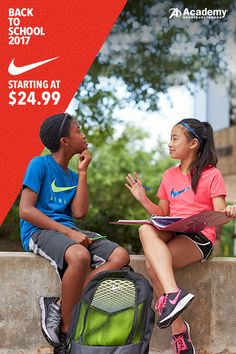 Get the kids ready to hit the playground in brand new Nike gear. Stock up on Swoosh t-shirts, shoes, and backpacks and send them into the new school year of adventure with Academy® Sports + Outdoors.