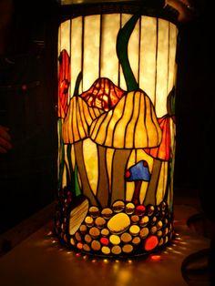 Mushroom Morning Pendant Lamp by Woodlandstainedglass on Etsy