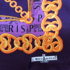 ef88f9fc6 Vintage 1990s J Mico Sancho Purple and Navy Paris Scarf, Oversized, Mona  Lisa and